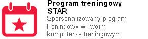 Program treningowy STAR został opracowany w celu zmotywowania Cię do regularnych treningów. Tworzy on spersonalizowany program treningowy na Twoim pulsometrze i pomaga tak dobrać intensywność i częstotliwość treningów, aby osiągnąć założony, długoterminowy cel.